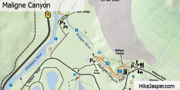 Maligne Canyon Trail Map