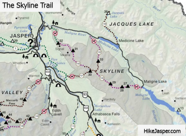 Jasper Skyline Trail Map